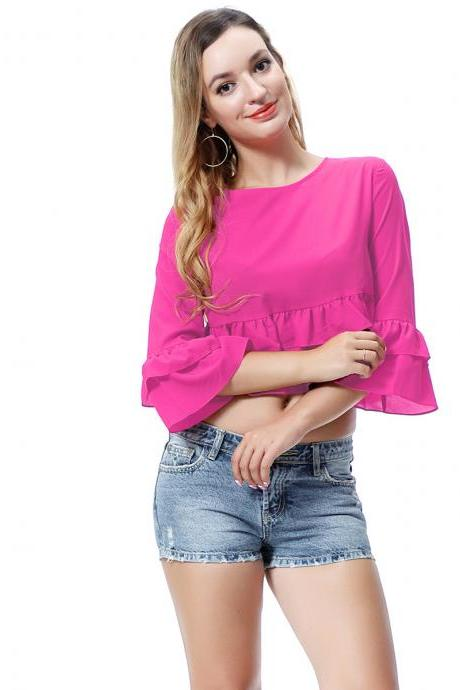 Women Crop Top 3/4 Sleeve Ruffles Summer Loose Tee Casual Streetwear T-Shirt hot pink