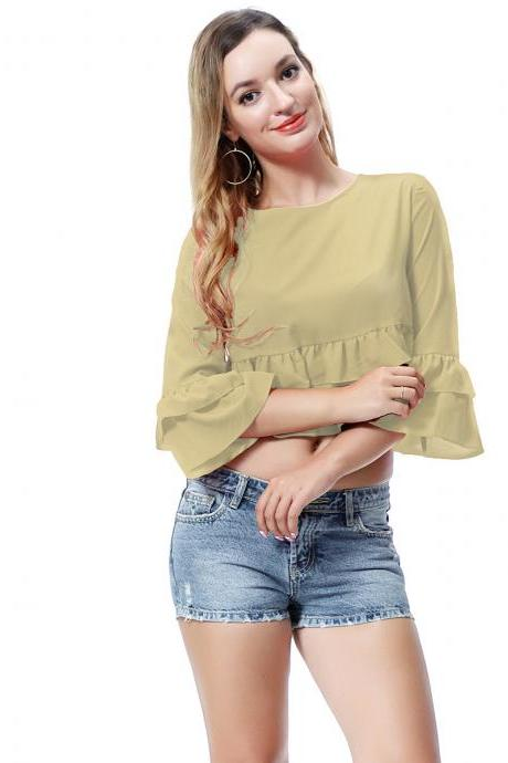 Women Crop Top 3/4 Sleeve Ruffles Summer Loose Tee Casual Streetwear T-Shirt deep khaki