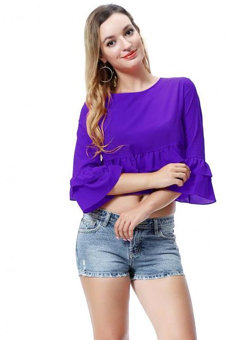 Women Crop Top 3/4 Sleeve Ruffles Summer Loose Tee Casual Streetwear T-Shirt deep purple
