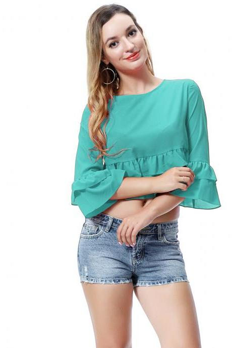 Women Crop Top 3/4 Sleeve Ruffles Summer Loose Tee Casual Streetwear T-Shirt deep turquoise