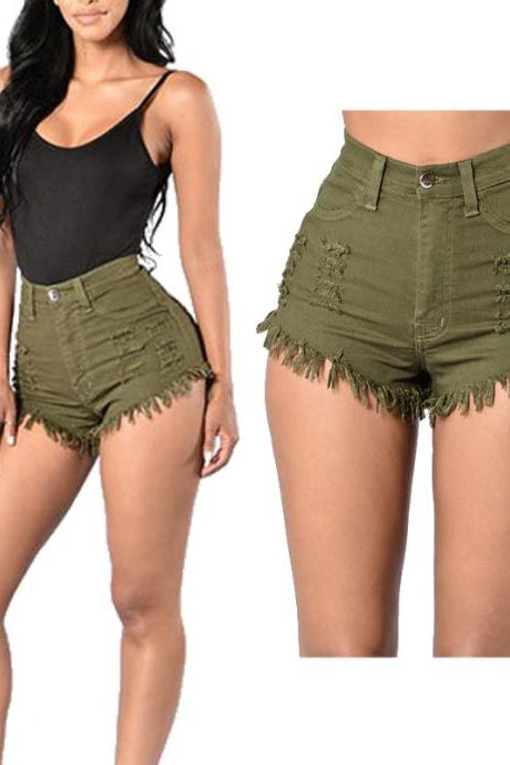Women Denim Shorts High Waist Ripped Tassels Summer Casual Mini Jeans Shorts army green