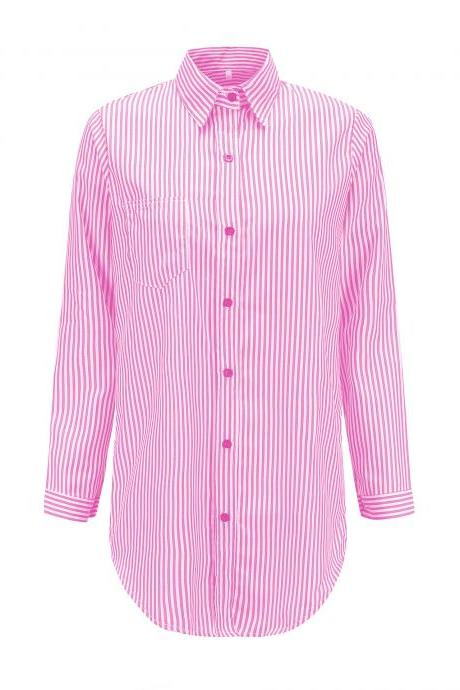 Women Striped Shirt Long Sleeve Turn-Down Collar Work Office Casual Loose Top Blouses pink 1#