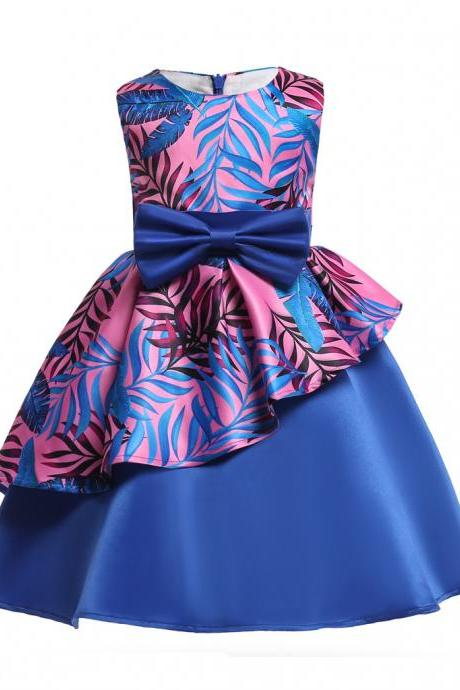 Floral Flower Girl Dress Communion Formal Party Birthday Gown Children Clothes 2586-royal blue