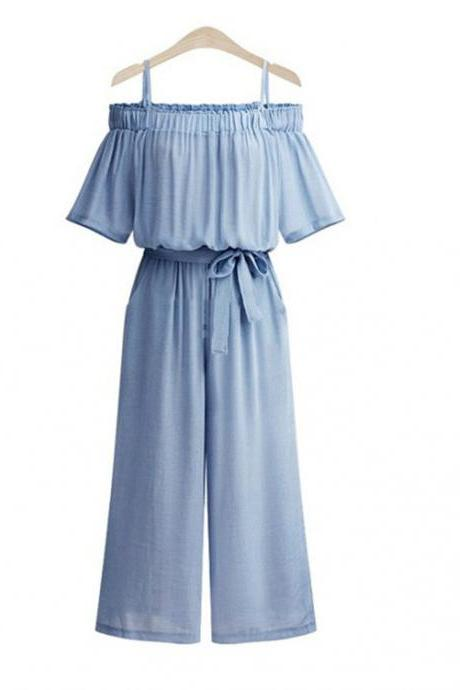 Women Wide Leg Jumpsuit Spaghetti Strap Off Shoulder Belted Casual Long Rompers Playsuit blue