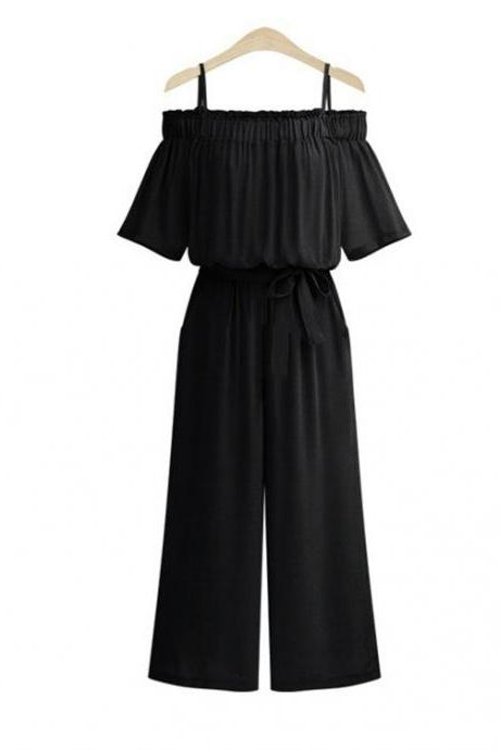 Black Cold-Shoulder Casual Belted Wide Leg Jumpsuit with Short Sleeves