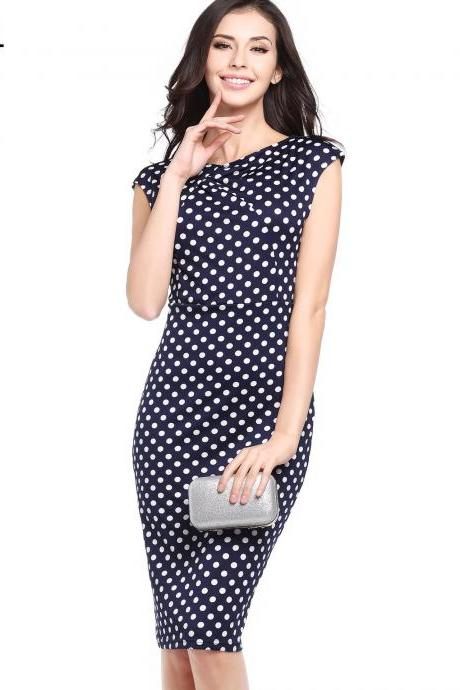 Women Floral Printed Pencil Dress Cap Sleeve Slim Bodycon Work Office Party Dress 734-4#