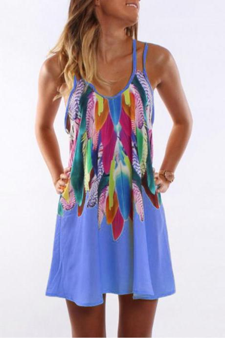 Women Floral Printed Mini Party Dress Spaghetti Strap Summer Beach Casual Sundress blue