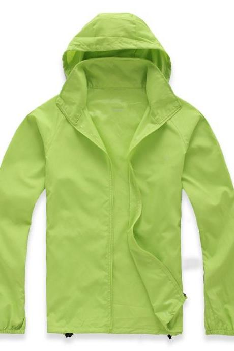Unisex Sun Protection Clothes Outdoor UV-Proof Quick Dry Fishing Climbing Coat Women Men Hooded Jacket apple green