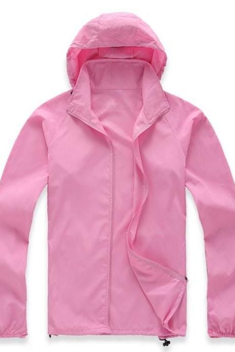 Unisex Sun Protection Clothes Outdoor UV-Proof Quick Dry Fishing Climbing Coat Women Men Hooded Jacket pink
