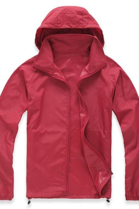 Unisex Sun Protection Clothes Outdoor UV-Proof Quick Dry Fishing Climbing Coat Women Men Hooded Jacket red