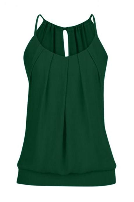 Women Tank Top Summer Casual Ruched Plus Size Loose Sleeveless T Shirts hunter green