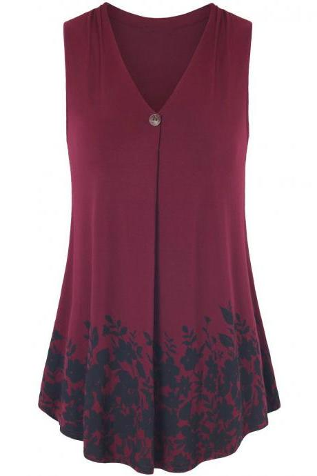 Women Floral Printed Tank Top V Neck Summer Casual Tops Loose Sleeveless T Shirt burgundy