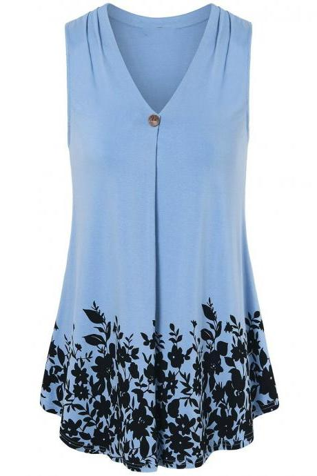 Women Floral Printed Tank Top V Neck Summer Casual Tops Loose Sleeveless T Shirt light blue