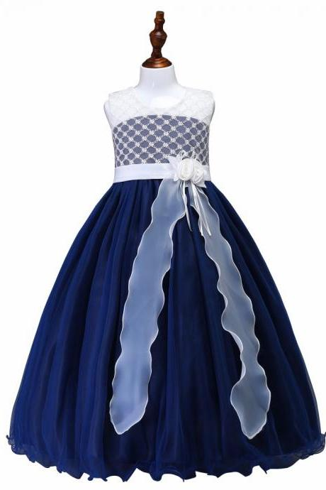 Long Flower Girl Dress Princess Teens Evening Birthday Party Gown Children Clothes navy blue