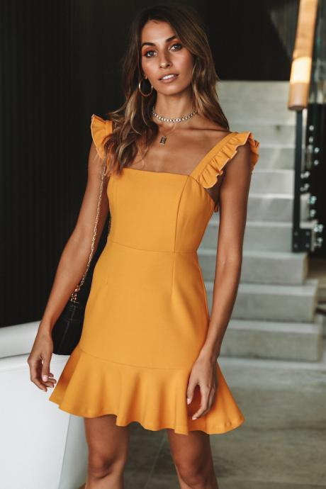 Women Casual Dress Sleeveless Ruffles Summer Beach Mini Club Party Pencil Dress yellow