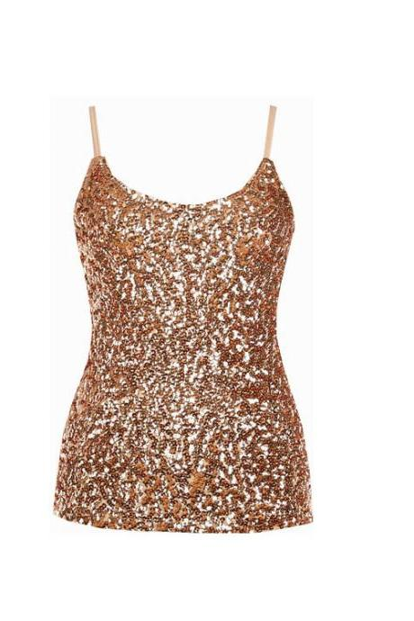Women Sequined Camis Tank Top Spaghetti Strap Slim Club Party Sleeveless T-Shirt gold