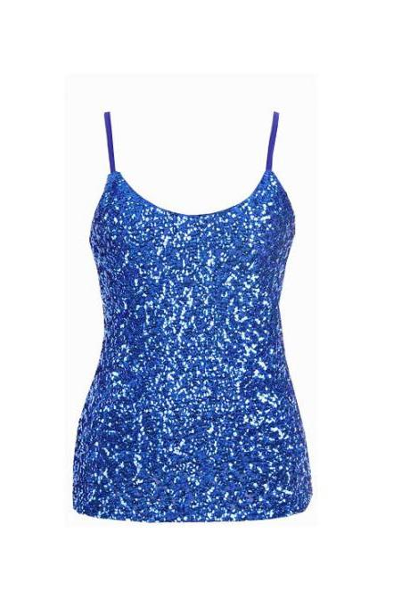 Women Sequined Camis Tank Top Spaghetti Strap Slim Club Party Sleeveless T-Shirt royal blue
