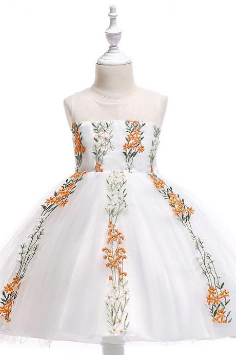 Embroidery Flower Girl Dress Wedding Formal Birthday Party Gown Children Clothes orange