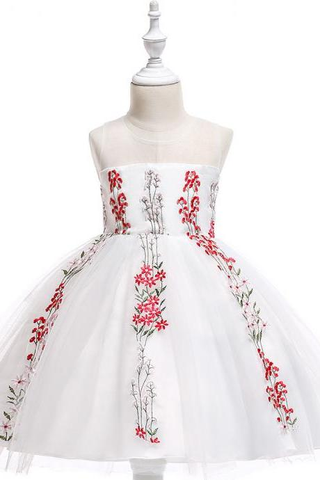 Embroidery Flower Girl Dress Wedding Formal Birthday Party Gown Children Clothes red