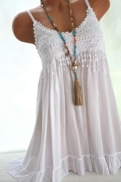 Women Spaghetti Strap Lace Dress Casual Sleeveless Summer Boho Beach Mini Party Sundress off white