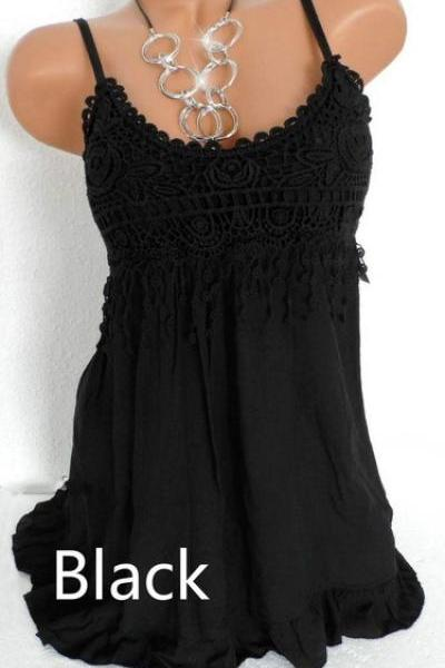 Women Spaghetti Strap Lace Dress Casual Sleeveless Summer Boho Beach Mini Party Sundress black