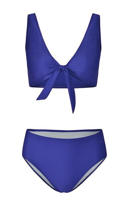 Women Bikini Set Summer Deep V Neck Bow Swimsuit Swimwear Two Piece Set Bathing Suit royal blue