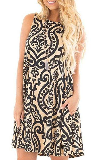 Women Casual Dress Summer Beach Sleeveless Pocket Element Printed Loose Boho Mini Dress 1#