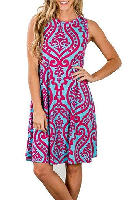 Women Casual Dress Summer Beach Sleeveless Pocket Element Printed Loose Boho Mini Dress 2#