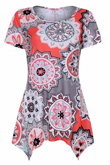 Women Asymmetrical T Shirt Summer Causal Floral Printed Loose Short Sleeve Tees Tank Tops 5#