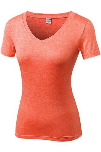Women Gym Yoga T Shirt V Neck Short Sleeve Quickly Dry Running Sport Fitness Slim Tees Tops orange