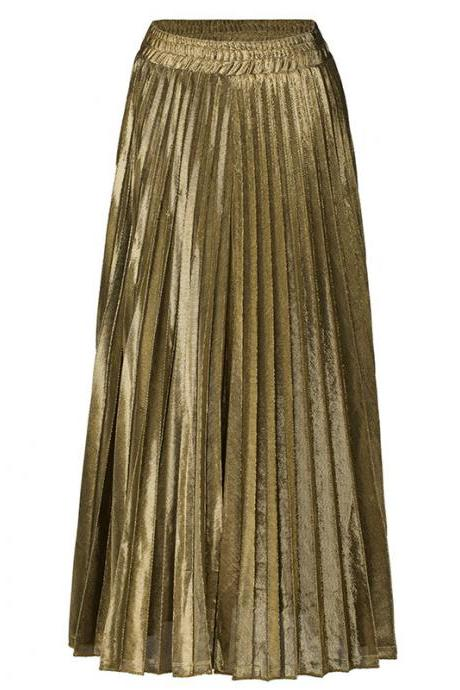 Women Maxi Skirt High Waist Ankle Length Casual Metallic Long Pleated Skirt gold