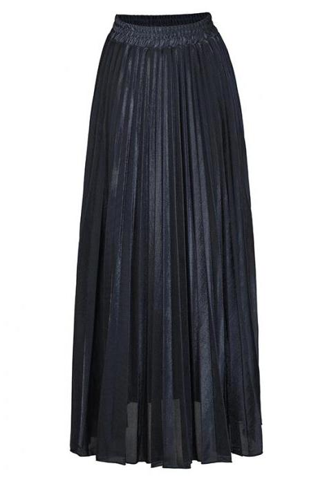 Women Maxi Skirt High Waist Ankle Length Casual Metallic Long Pleated Skirt black