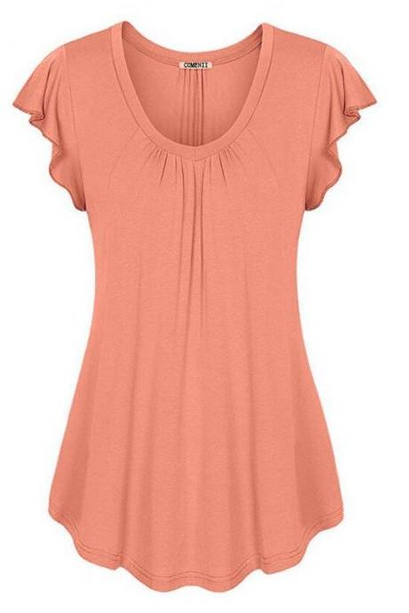 Plus Size Women Sleeveless T-Shirt Summer Ruffles Casual Loose Tank Tops Blouses orange