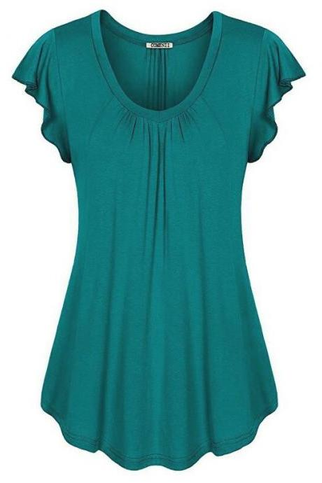 Plus Size Women Sleeveless T-Shirt Summer Ruffles Casual Loose Tank Tops Blouses Peacock blue