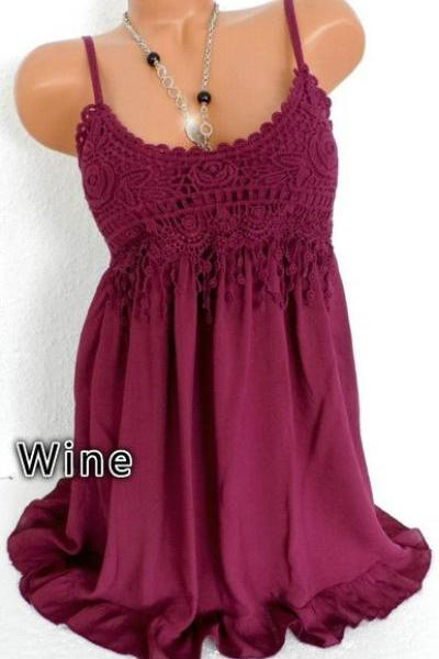 Women Spaghetti Strap Lace Dress Casual Sleeveless Summer Boho Beach Mini Party Sundress wine red