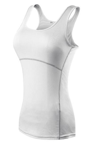 Women Athletic Tank Top Yoga Gym Running Sport Vest Fintess Sleeveless T Shirt off white