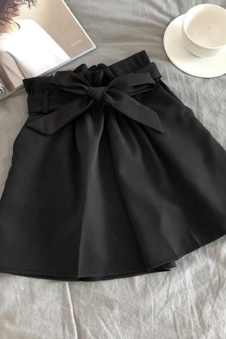 Women Casual Shorts Summer Elastic High Waist Bow Belted Streetwear Loose Wide Leg Shorts black