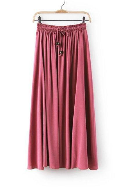 Women Maxi Skirt Summer Fashion Solid Casual Drawstring Elastic Waist Long Pleated Skirt blush pink