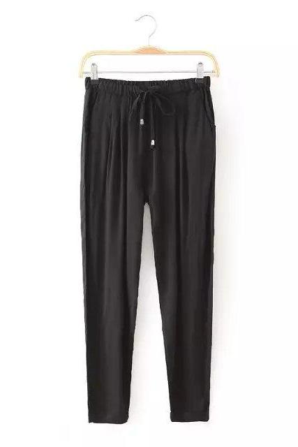 Women Casual Harem Pants Drawstring Elastic Waist Ankle Length Slim Long Trousers black