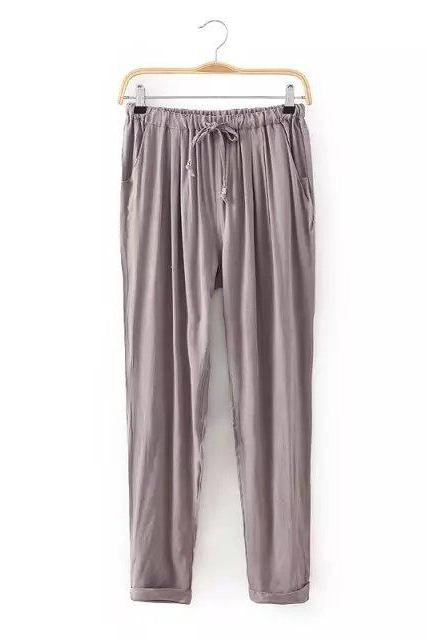 Women Casual Harem Pants Drawstring Elastic Waist Ankle Length Slim Long Trousers khaki