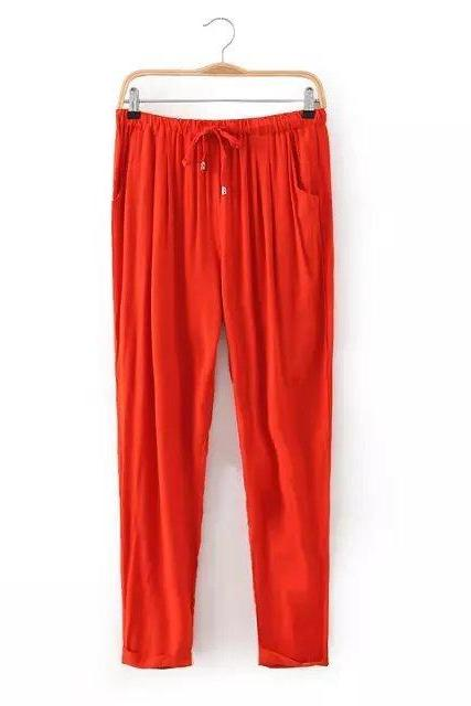 Women Casual Harem Pants Drawstring Elastic Waist Ankle Length Slim Long Trousers orange
