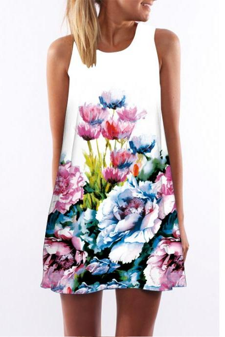 Women Casual Floral Printed Dress Sleeveless Boho Summer Beach Mini Sundress16#