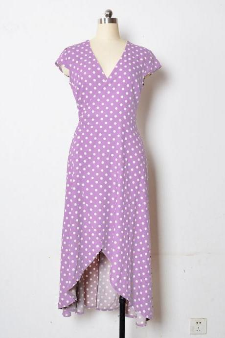 Women Asymmetrical Polka Dot Dress V Neck Short Sleeve Casual Summer Beach Boho Long Party Dress lilac