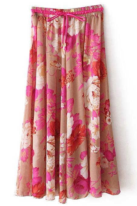 Boho Floral Print Maxi Skirt Summer Beach Women High Waist Casual Long Bohemian Skirt 1#