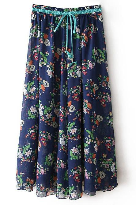 Boho Floral Print Maxi Skirt Summer Beach Women High Waist Casual Long Bohemian Skirt 4#