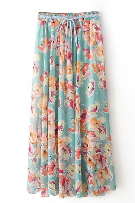 Boho Floral Print Maxi Skirt Summer Beach Women High Waist Casual Long Bohemian Skirt 8#