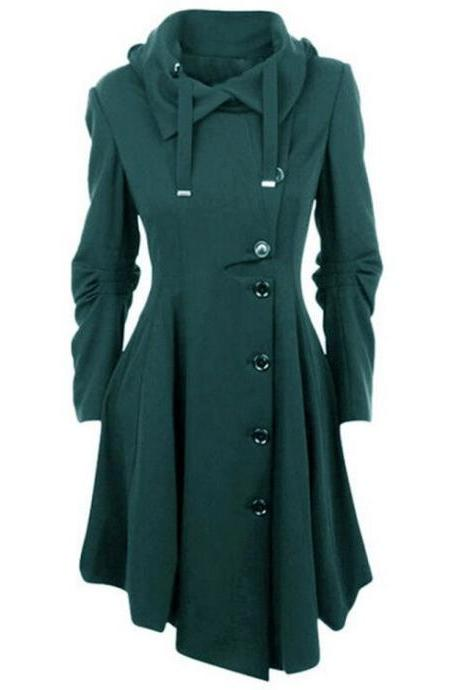Women Asymmetric Woolen Coat Long Sleeve Turn-down Collar Single Breasted Slim Fall Winter Jacket Overcoat hunter green
