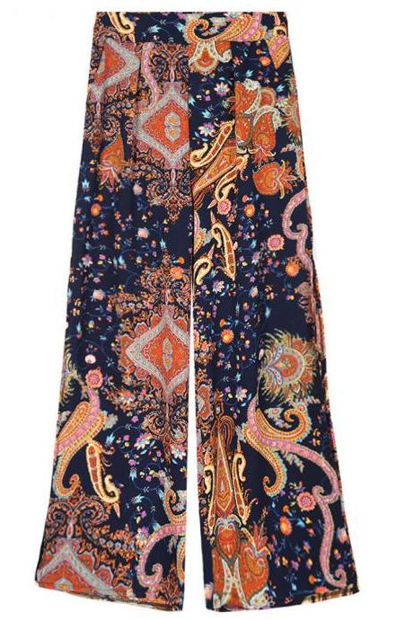 Women Floral Printed Wide Leg Pants High Waist Split Summer Beach Casual Loose Trousers 8#