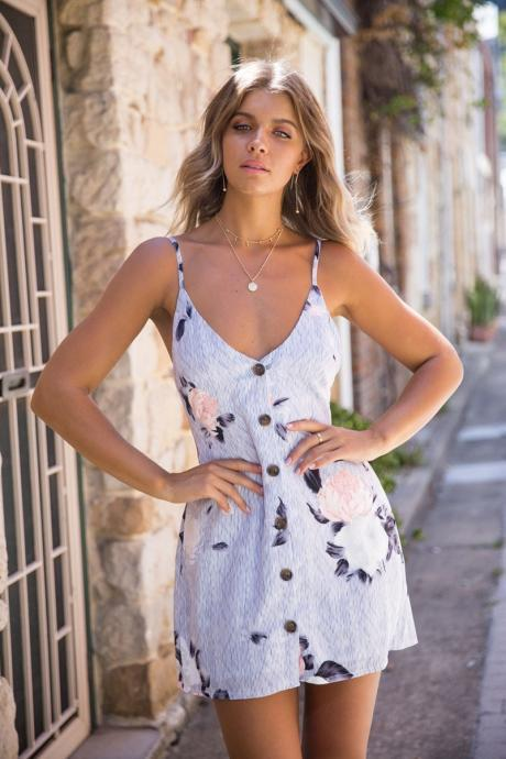 Women Floral/Striped Printed Dress Bow Backless Buttons Spaghetti Strap Summer Beach Mini Sundress 7903-3