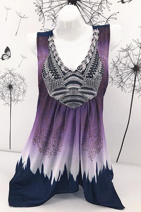 Women Floral Print Tank Top V Neck Summer Casual Loose Vest Plus Size Sleeveless T Shirt purple